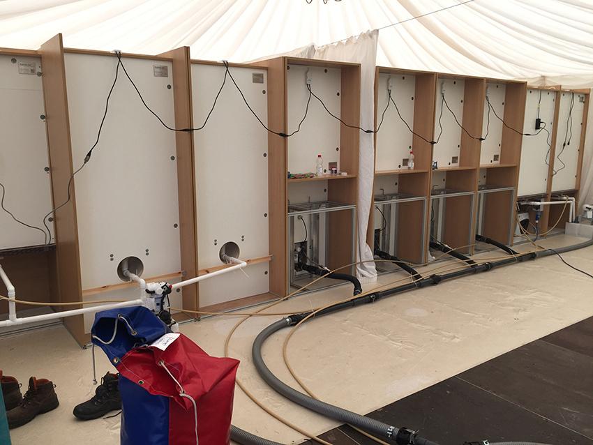 Setting up the Flexiloo toilet facilities